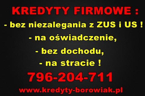 Kredyty Firmowe: Na Oświadczenie,bez Dochodu,na Stracie! Bez Zus/us !